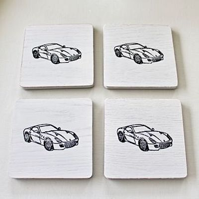 Set of 4 Vintage Sports Car Painted Coasters