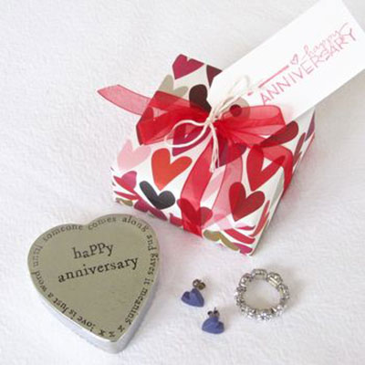 Happy Anniversary Pewter Trinket Box ~ gift wrapped