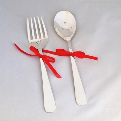 'Love' Silver Plated Salad Servers