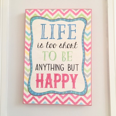 Be Happy Hanging Wall Sign
