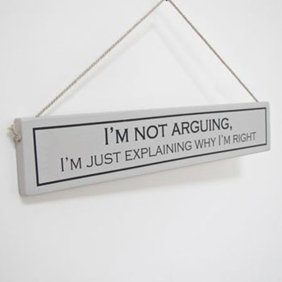 I'm not Arguing Hand Painted Wooden Sign