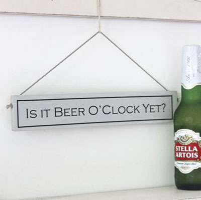 It's Beer o'clock Hand Painted Wooden Sign