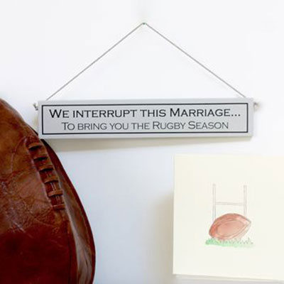 Rugby & Marriage Hand Painted Wooden Sign