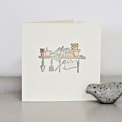 Hand Painted Gardening Card