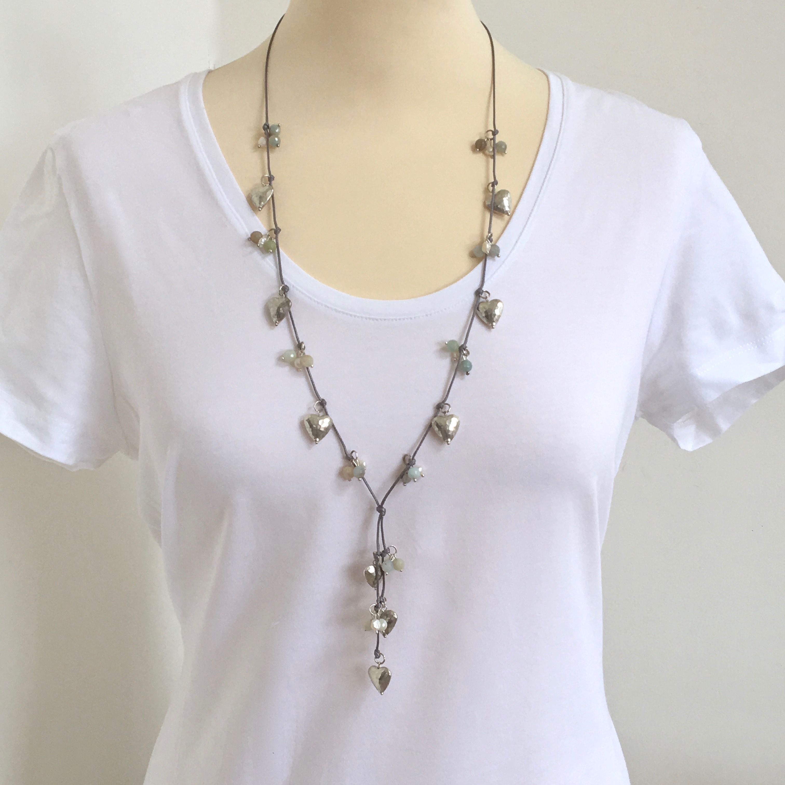 Silver Plated Heart & Pearl Lariat Necklace ~ boxed & gift wrapped