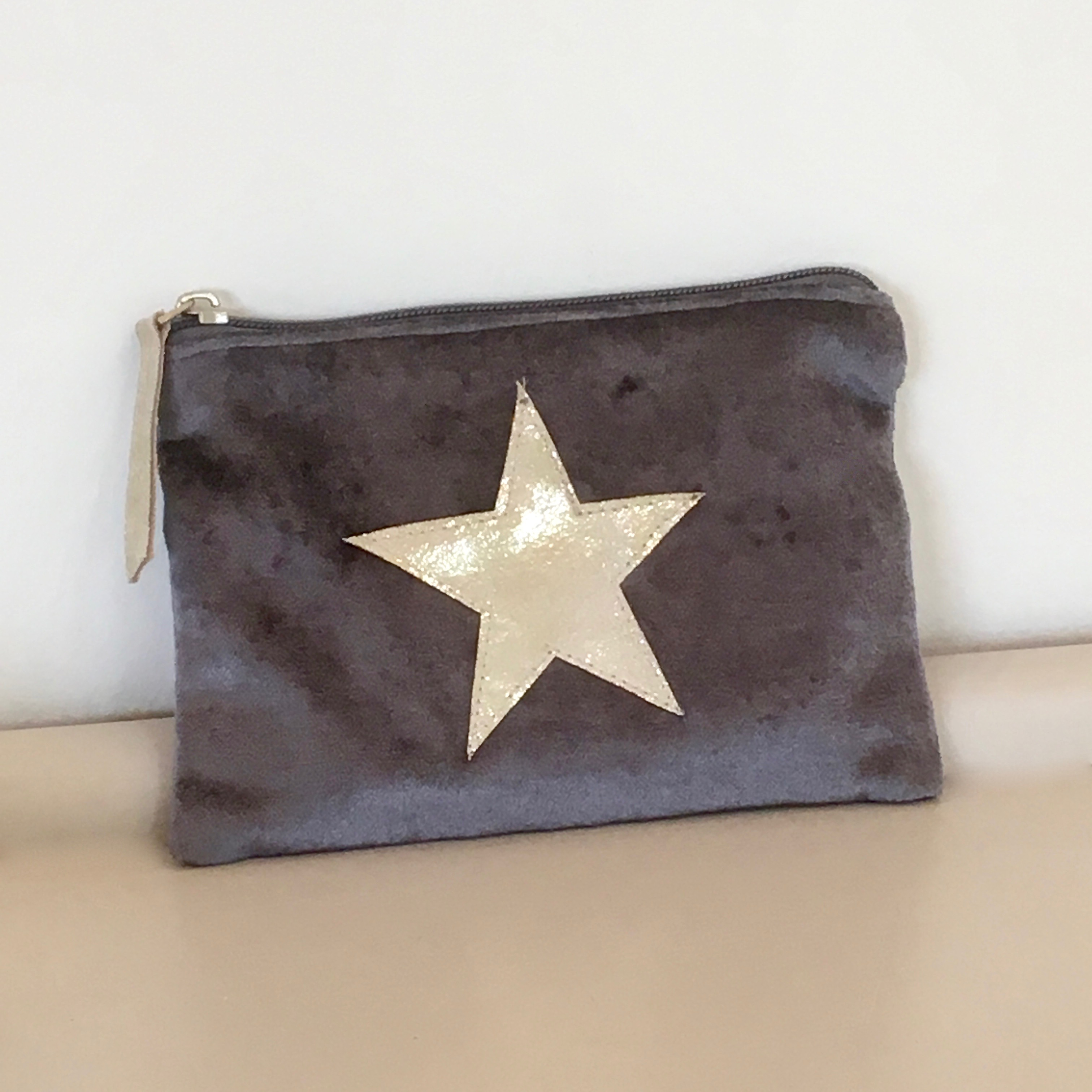 Warm Grey & Gold Star Make up Bag