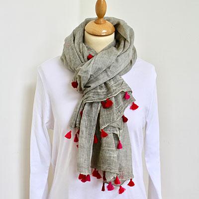 Grey / Pink Tassle Cotton Scarf