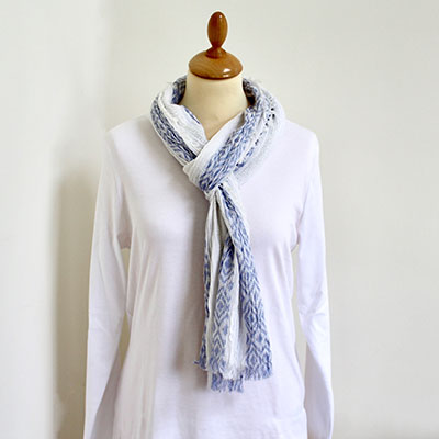 Blue & White Diamond Cotton Scarf