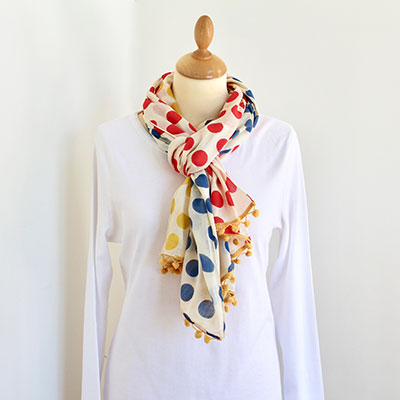 Spotty Pom Pom Cotton Scarf