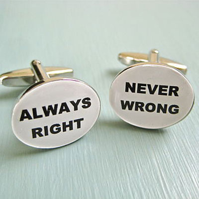 Always Right, Never Wrong Cufflinks