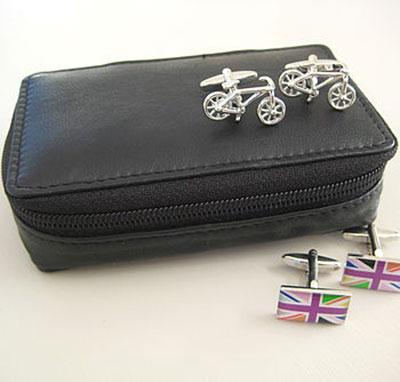 Leather Travel Cufflinks Case