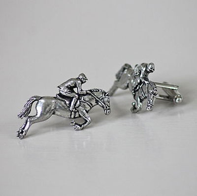 Pewter Horse & Jockey Cufflinks