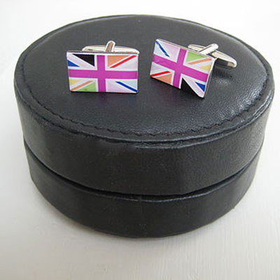Round Leather Travel Cufflinks Case