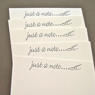 Set of 5 Handmade Just a Note Notelets