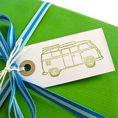 Set of Five Handmade Vintage Campervan Gift Tags