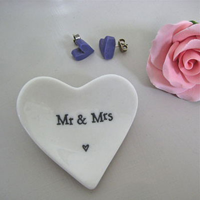Mr & Mrs Tiny Porcelain Heart Dish
