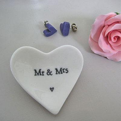 Mr & Mrs Tiny Porcelain Heart Dish
